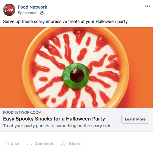 food network facebook ad example
