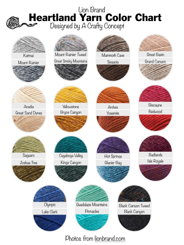 Lion Brand Yarn- Free Color Charts - A Crafty Concept