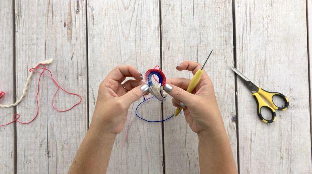 Step 7 for crochet rainbow earrings
