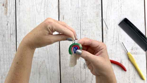 Step 21 for crochet rainbow earrings