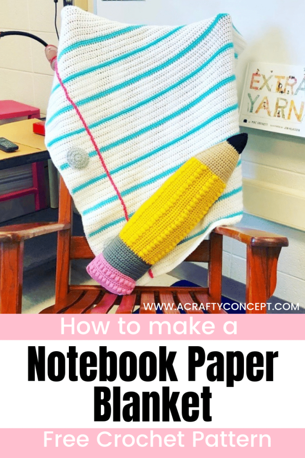 Learn how to crochet a super simple but unbelievably cute, notebook paper blanket in this free crochet tutorial! Free crochet pattern PDF download.