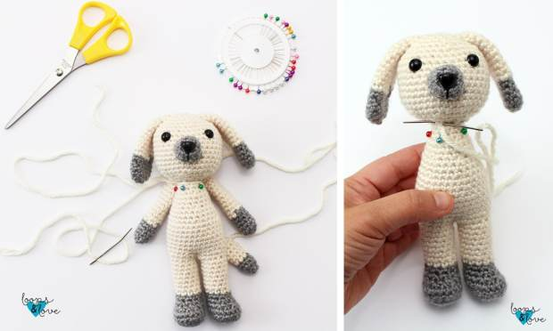 Learn how to make this adorable crochet puppy amigurumi inspired by the main character in the children's book Boone. Free crochet pattern.
