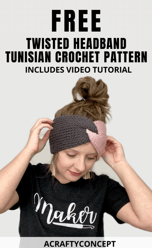 Learn how to make this trendy, knit-looking, crochet twisted headband using the Tunisian knit stitch. The two-tone design is the perfect headband for sports fans!