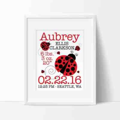 Ladybug Nursery Art - Birth Announcement