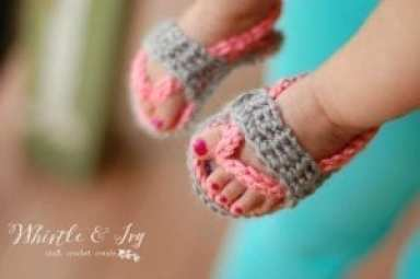 flip flop baby sandal - baby shoes crochet pattern - baby gift
