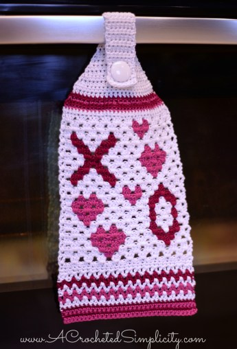Free Crochet Pattern - Hugs & Kisses Crochet Towel by A Crocheted Simplicity
