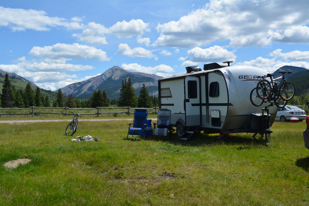Geo Pro RV at campsite in Bighorn Campground of Ya Ha Tinda region