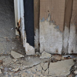 Garage exterior water damage
