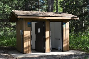 Pit toilets from outside
