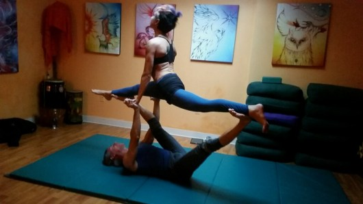 "Adding some yoga back into ""Acro-yoga"" with my Freind Sara image"