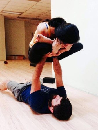 2015-08-05-23.48.43 Garbha Pindasana lifted on hands in my AcroYoga class in June of 2015 with one o