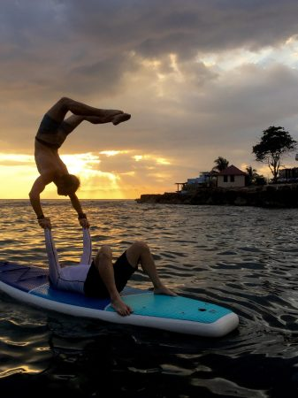 So much fun playing with really good acrobats on the inflatable stand up paddleboards (SUP) we broug