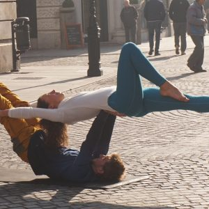 Acro Yogis are Eva Brovinsky and Jan Valentincic.