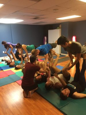 "A little ""pass the flyer"" action in my ""beginner acro class"". Was big fun! i"