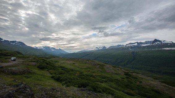 Nachtplatz auf dem Thompson Pass richtung Valdez.