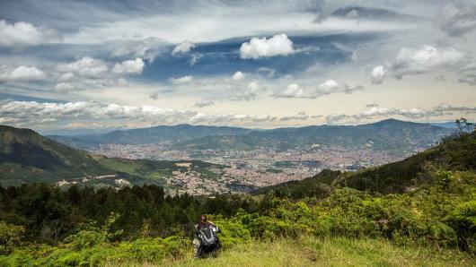 Aussicht beim Wandern über Medellin.