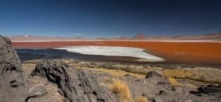 Die Laguna Colorada wird durch Algen und Sonnenlicht rot gefärbt.