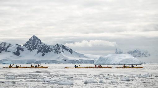 Oder machen sich in Kayaks auf den Weg…