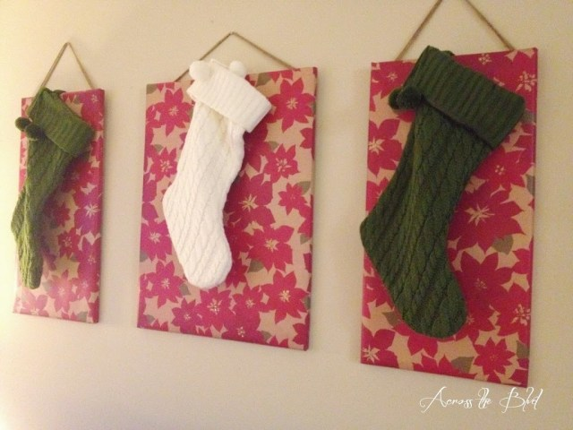 Canvas covered stocking hangers