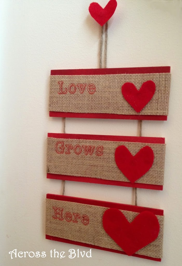 Burlap & Wood Hanging Valentine's Day Sign