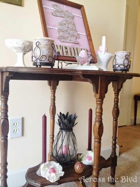 Easter Vignette with Burlap and Lace Bunny