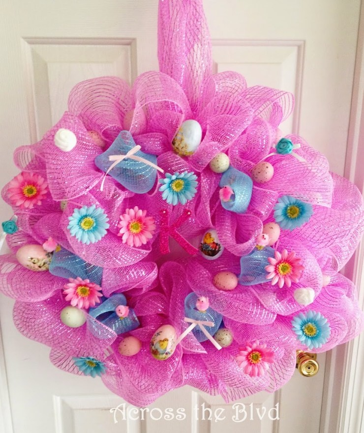 Deco Mesh Easter Wreath