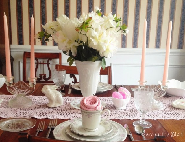 Easter Tablescape~Across tEaster Tablescape~Mixing Vintage Treasures With DIY Decorhe Blvd~Vintage & DIY Decor