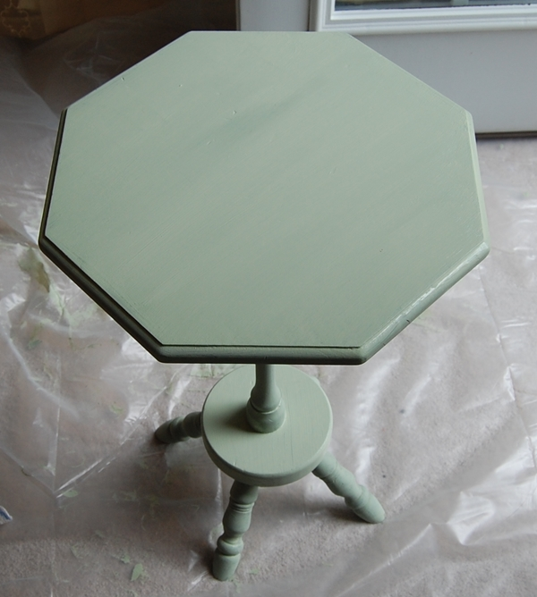 spindle table chalk paint first coat