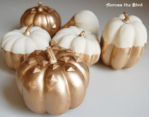 Gold and Cream Pained Pumpkins
