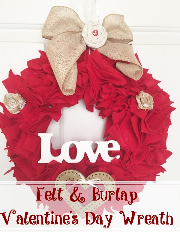Felt & Burlap Valentine's Day Wreath Across the Blvd