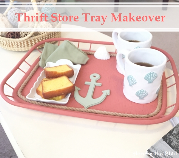 Thrift Store Tray Makeover Across the Blvd