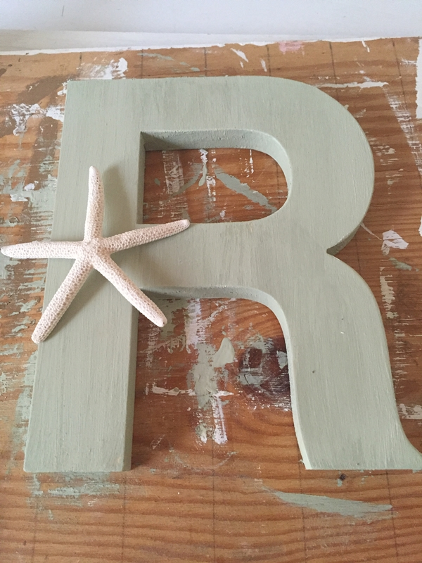 Wooden Initial with Star Fish