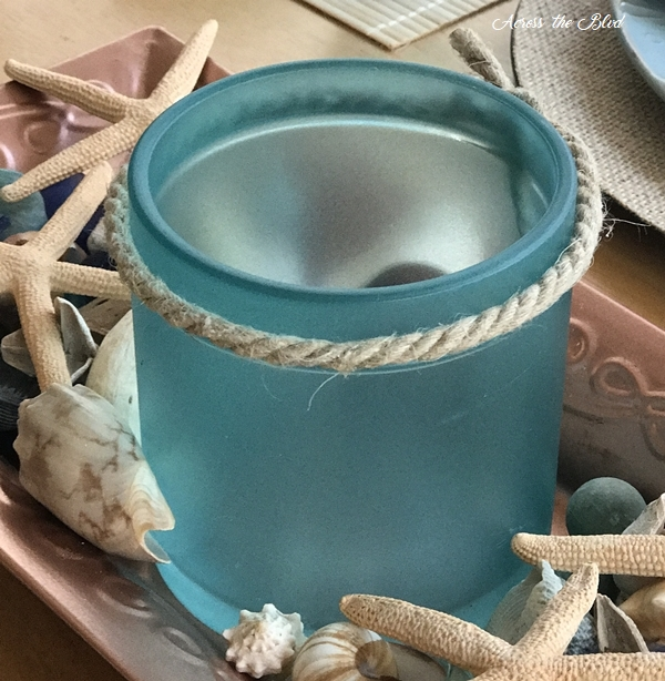 Coastal Jar Makeover with Sea Glass Paint with rope