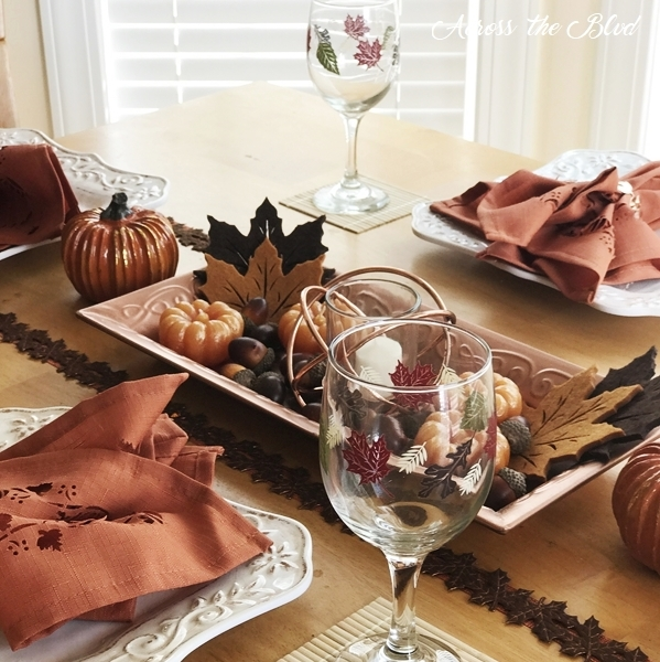 Casual Fall Tablescape With Copper Accents Across the Blvd