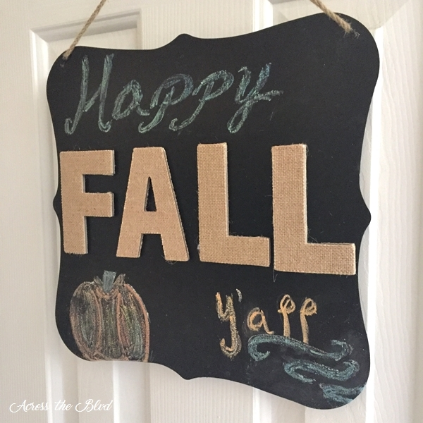 Easy Fall Chalkboard with burlap letters