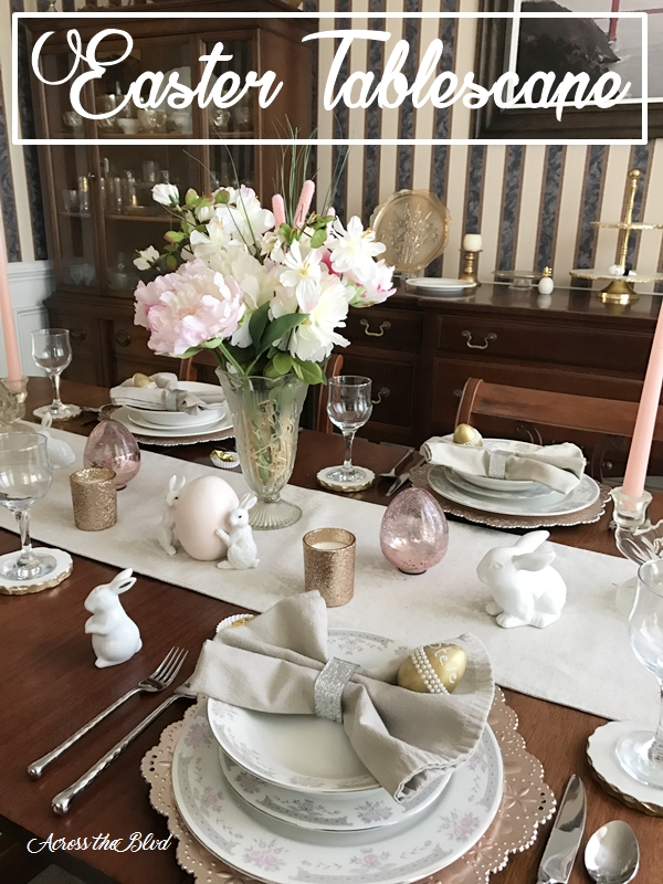 Easter Tablescape ~ Mixed Metals With Touches of Pink