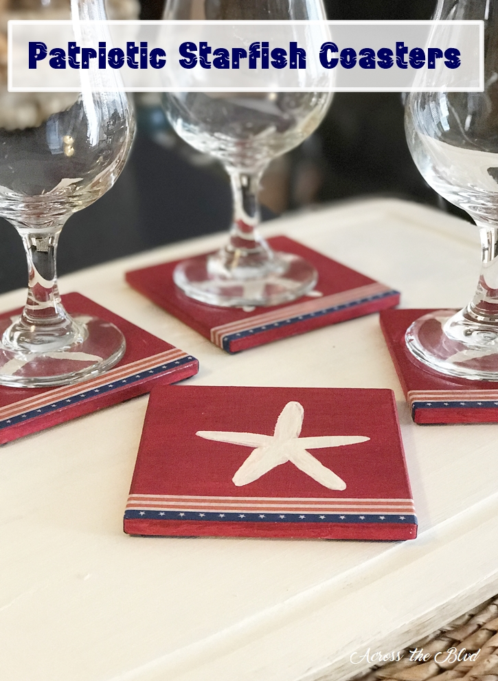 Patriotic Starfish Coasters Across the Blvd