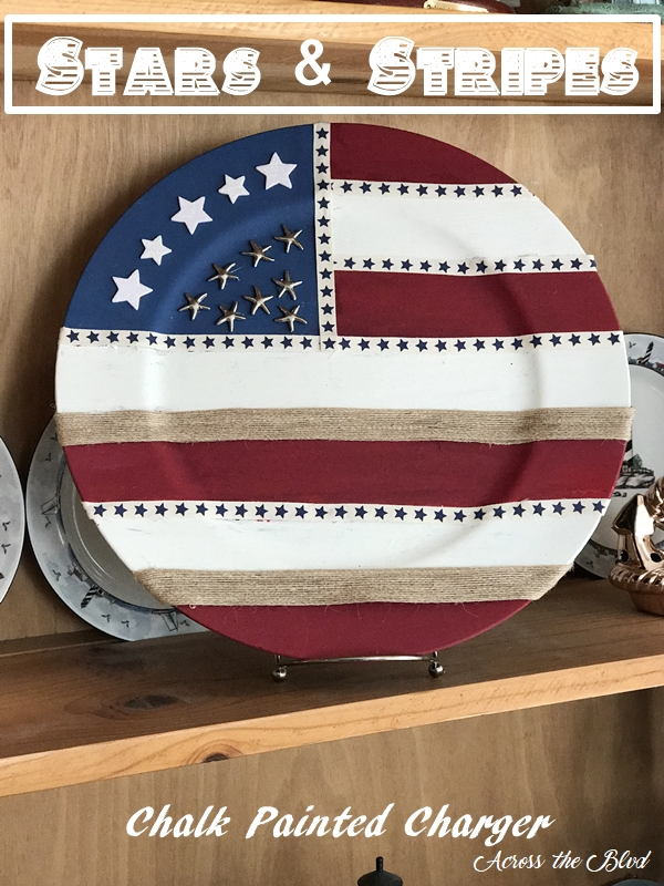 Stars & Stripes Chalk Painted Charger