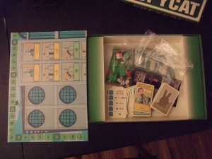 "Game contents, including the ""huge game board"""
