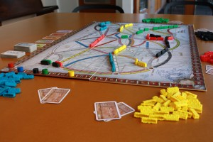 The Ticket to Ride board in play