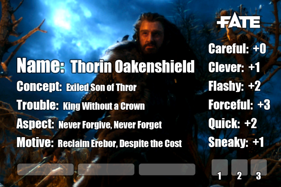 fate accelerated edition thorin oakenshield hobbbit lord of the rings tolkien lotr