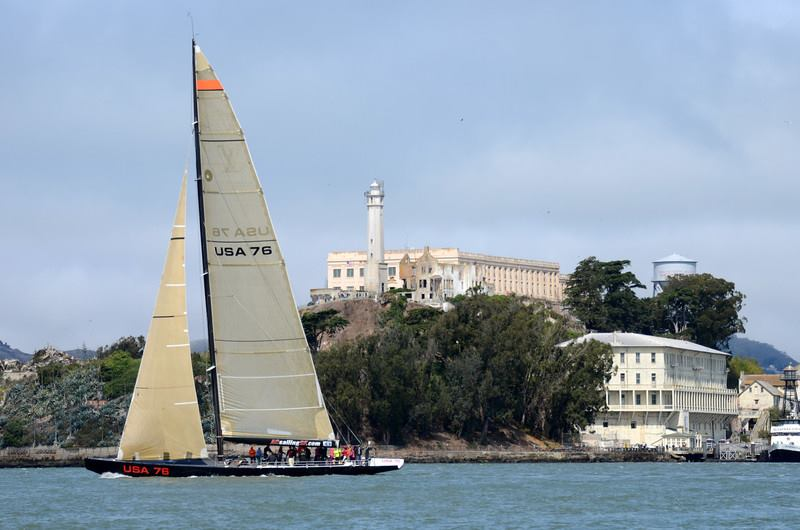 USA 76 carbon fiber yacht in San Francisco in from of Alcatraz