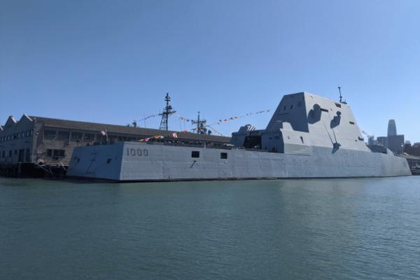 Zumwalt Warship in at Pier 39