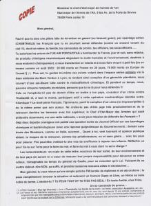 lettre au chef Etat Major de l'Armee Air