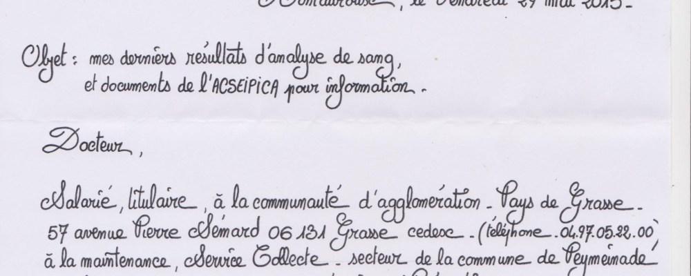 lettre à Médecine du Travail 1