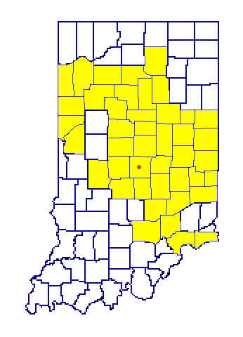 map of Indiana with many central counties highlighted