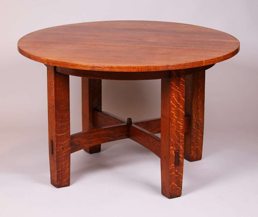 Gustav Stickley 48d Fixed Top Dining Table California Historical Design