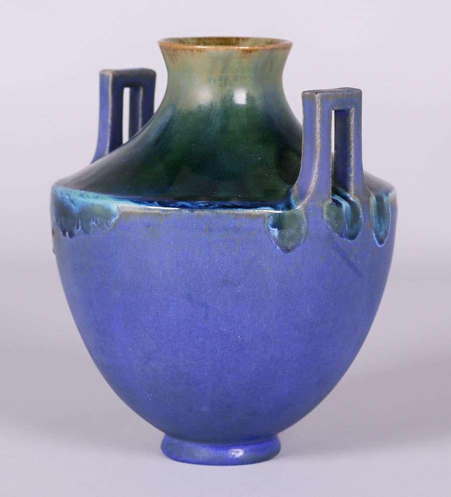 Fulper Vase With Two Cutout Vertical Handles C1910
