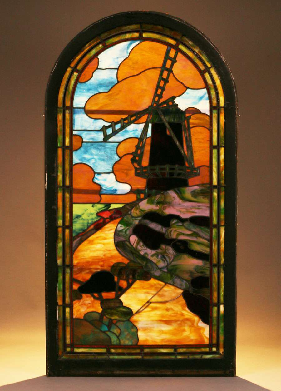 Arts Amp Crafts Stained Glass Window Dutch Windmill C1910
