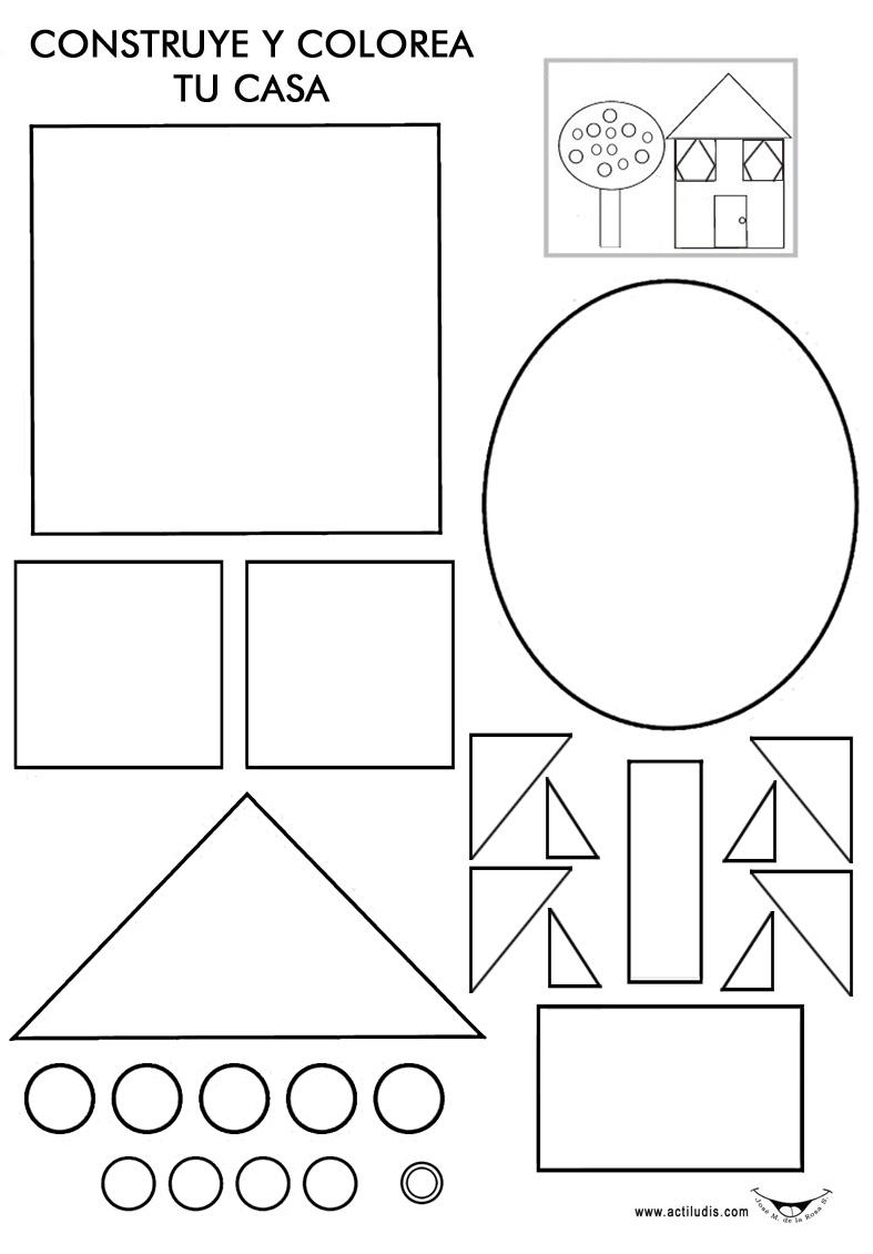 Construye tu casa con figuras geométricas - Actiludis
